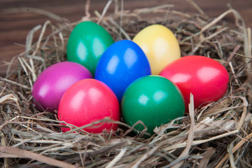 Farbige Ostereier im Nest auf Holz IV