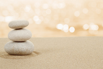 Poster de jardin Zen pierres a sable Balance zen stones in sand on white