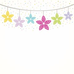 Floral decoration. Hanging flowers. Decorative border.