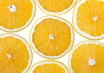Food background - Sliced orange, isolated over white