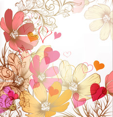 Cute valentine pastel floral vintage background