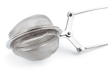 Tea strainer closeup, isolated on white with shadow