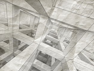 Abstract architecture background. Internal space of a modern bra