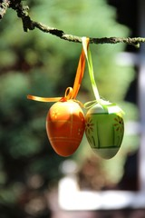 Easter eggs hanging on the tree