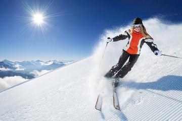 Girl / Woman / Female On the Ski Wall mural