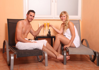 couple in a spa having a cocktail