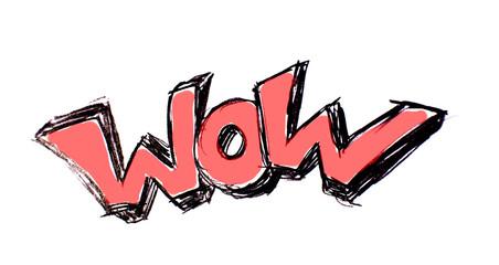 onomatopée de bande dessinée wow rouge