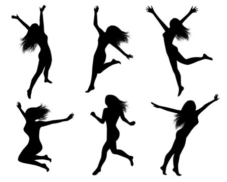 Set silhouettes of jumping women