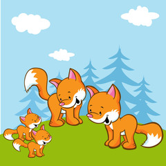 Poster de jardin Forets enfants fox family on meadow near the forest