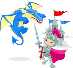Spoed Fotobehang Ridders Knight fighting a dragon