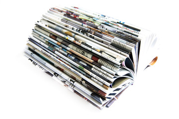 Stack of colored magazines