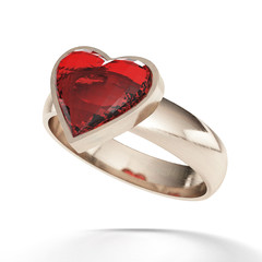 Ring with red heart