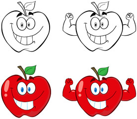 Apple Cartoon Mascot Characters- Collection