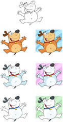 Happy Jumping Dog Cartoon Mascot Characters-Collection
