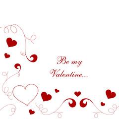 Ornament Dekor für Valentinskarte in Rot