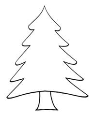 Outline Cartoon Christmas Tree