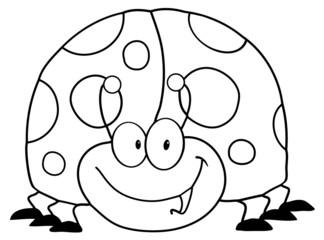 Outlined LadyBird Cartoon Character