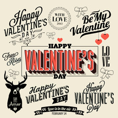 Happy valentines day and weeding handwriting, typography
