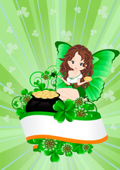 Printed kitchen splashbacks Fairies and elves Greeting Card to St. Patrick's Day