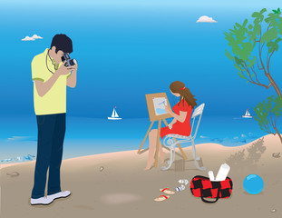 Young man and woman resting on the beach