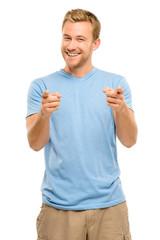 Happy man pointing - portrait on white background