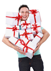 man carrying many gift boxes