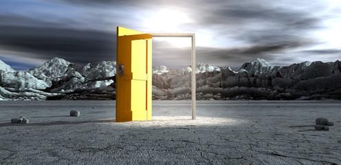 Barren Lanscape With Open Yellow Door