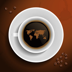 World map in coffee cup.