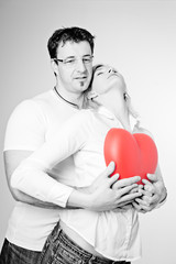 Foto op Canvas Rood, zwart, wit Couple in Black and White