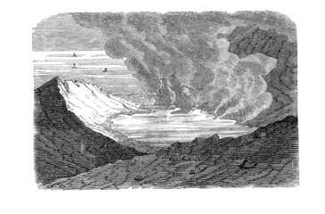 Krater der Insel Ferdinandea (Alte Lithographie)