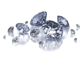 Diamond composition on white - clipping path