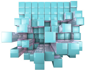 Abstract image of 3d dynamic cubes isolated on white