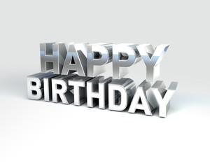 Metal Text HAPPY Birthday