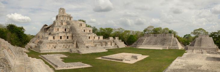 Panoramic view of the Mayan pyramids Edzna. Yucatan, Campeche,