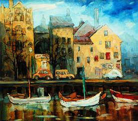 Denmark, Copenhagen, Illustration, painting by oil on canvas