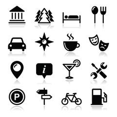 Travel tourism icons set - vector