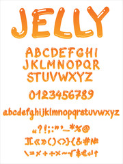 Handwritten jelly font vector on white background