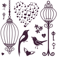 Printed roller blinds Birds in cages wall stickers birds cages