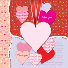 Torn paper with space for text and hearts. Valentine's day