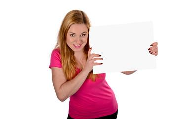 junge Frau mit Schild