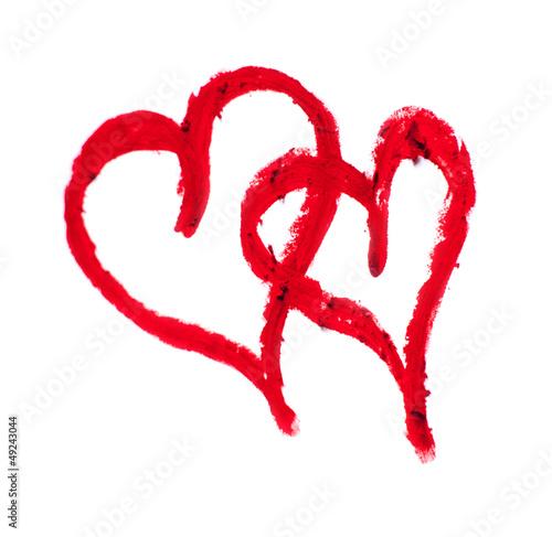 dessin de deux coeur rouge unis photo libre de droits. Black Bedroom Furniture Sets. Home Design Ideas