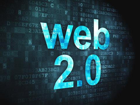 SEO web development concept: Web 2.0 on digital background