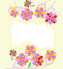 Красивый фон с абстрактными яркими цветками и местом для текста