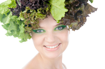 portrait of a woman with salad in a had
