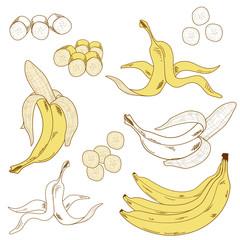 Set of isolated bananas