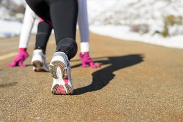 Run in winter road concept