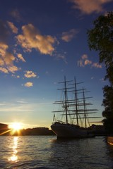 Sailing ship in Stockholm at sunset