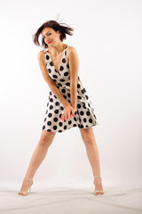 Pin-up sweety girl isolated white bacground