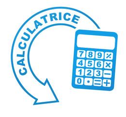 calculatrice sur symbole bleu