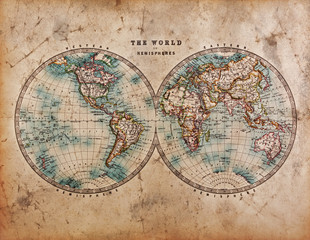 Poster World Map Old World Map in Hemispheres